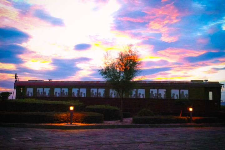 Sunset with wagon at Pietrarsa Railway Museum