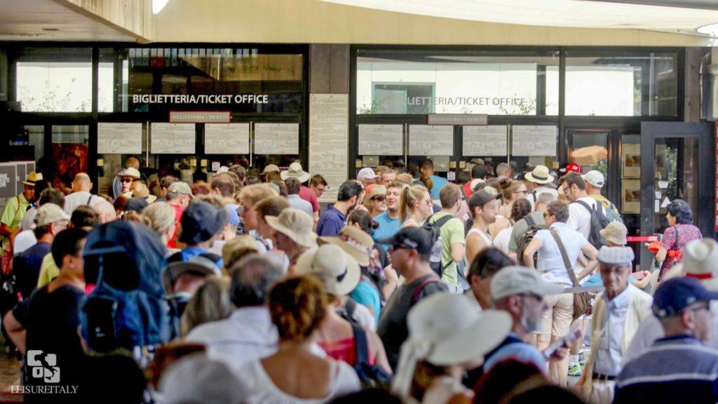 waiting on line at Pompeii ticket office - Pompeii travel tips